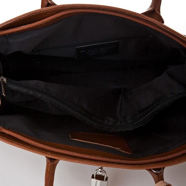 Koňakovohnedá kožená kabelka Giorgio Costa Perugia