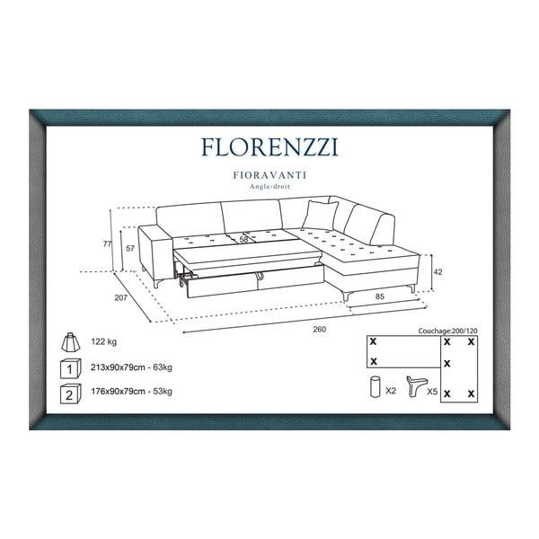 Svetlosivá rozkladacia pohovka Florenzzi Fioravanti s leňoškou na pravej strane