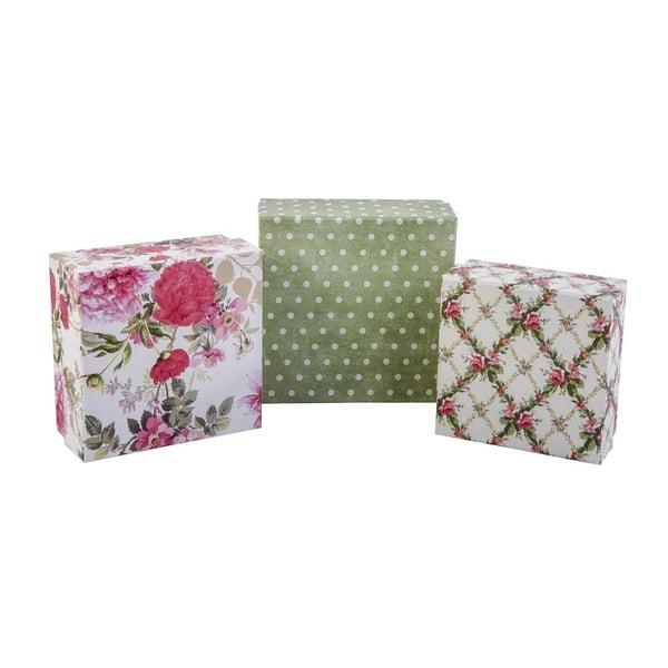 Sada 3 úložných krabičiek Roses