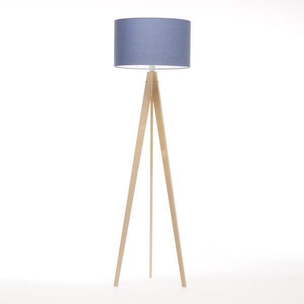 Stojacia lampa Artist Dark Blue Linnen/Birch Natural, 125x42 cm