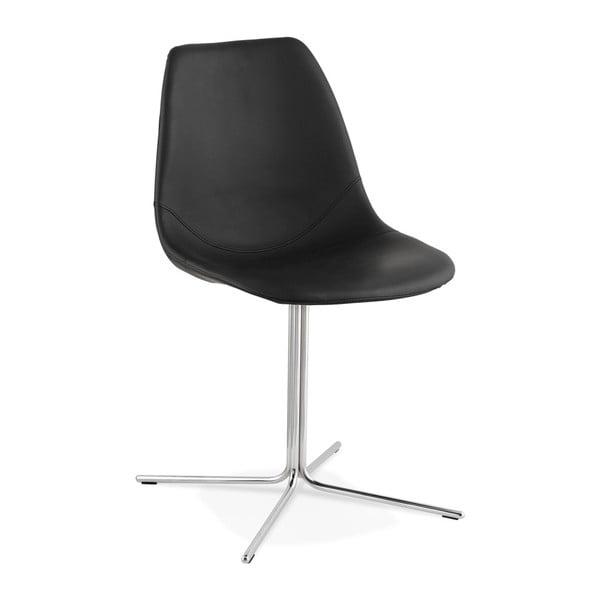 Čierna jedálenská stolička s ocelovým podnožím Kokoon Bedford