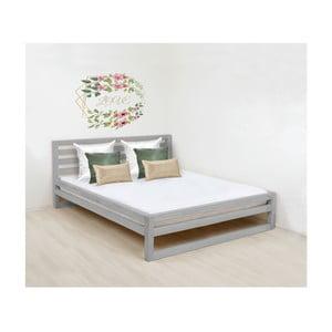 Sivá drevená dvojlôžková posteľ Benlemi DeLuxe, 200 × 190 cm