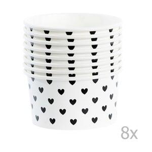 Sada 8 papierových kelímkov na zmrzlinu s lyžičkami Miss Étoile Black Hearts