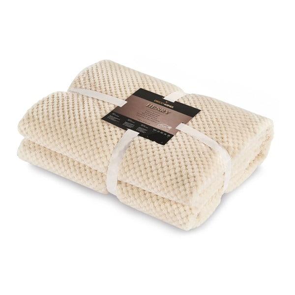 Krémovobiela deka z mikrovlákna DecoKing Henry, 170×210cm