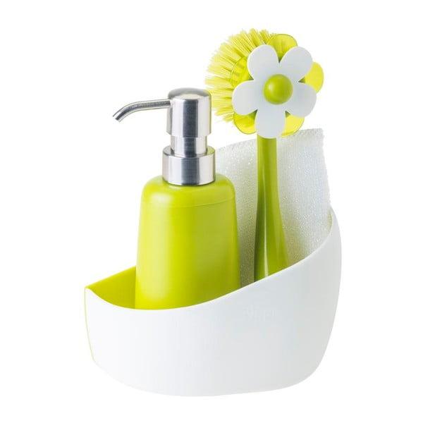 Set na umývanie riadu s dávkovačom na saponát Green Flower