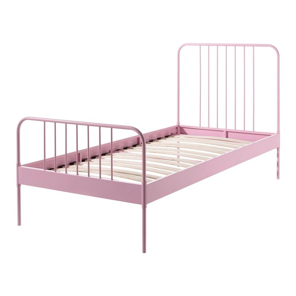 Ružová kovová detská posteľ Vipack Jack, 90 × 200 cm