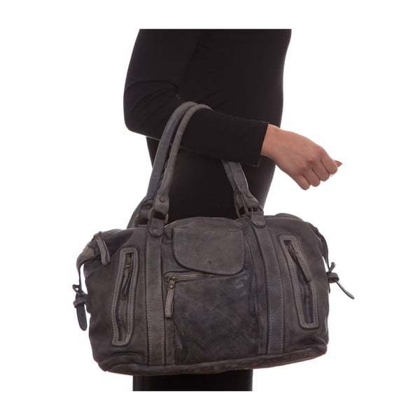 Kožená kabelka Mangotti 0001, sivá