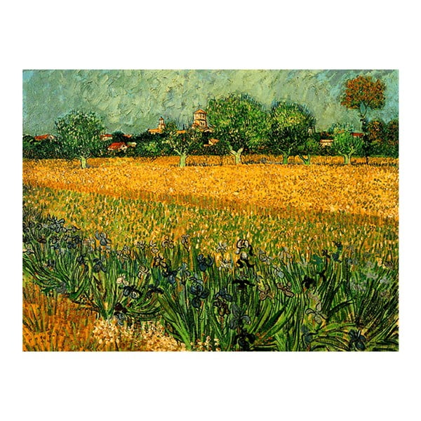 Obraz Vincenta van Gogha - View of arles with irises in the foreground, 60x45 cm