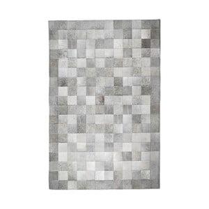 Sivý koberec z hovädzej kože Patchwork, 180 x 120 cm