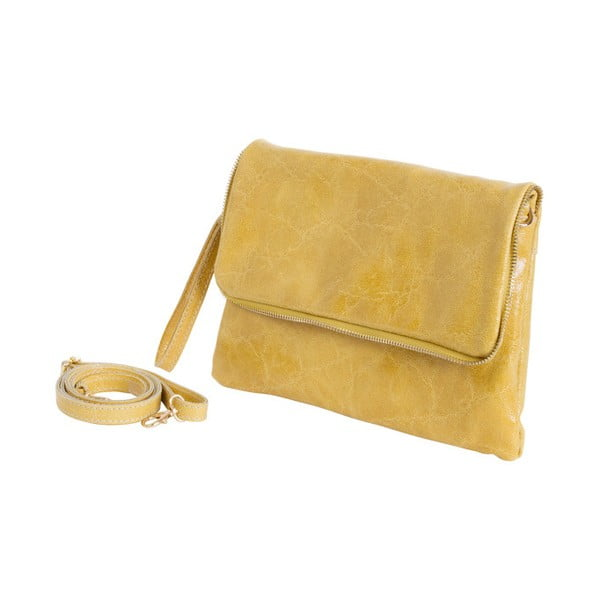 Žltá kabelka z pravej kože Andrea Cardone Cobalto