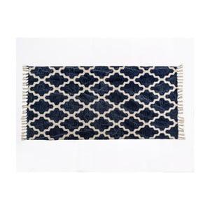 Modrý vzorovaný koberec z bavlny Cotex Valan, 120 × 180 cm