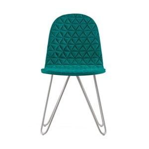 Tyrkysová stolička s kovovými nohami IKER Mannequin X Triangle