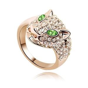 Pozlatený prsteň so zelenými krištáľmi Swarovski Fiera, veľkosť 52