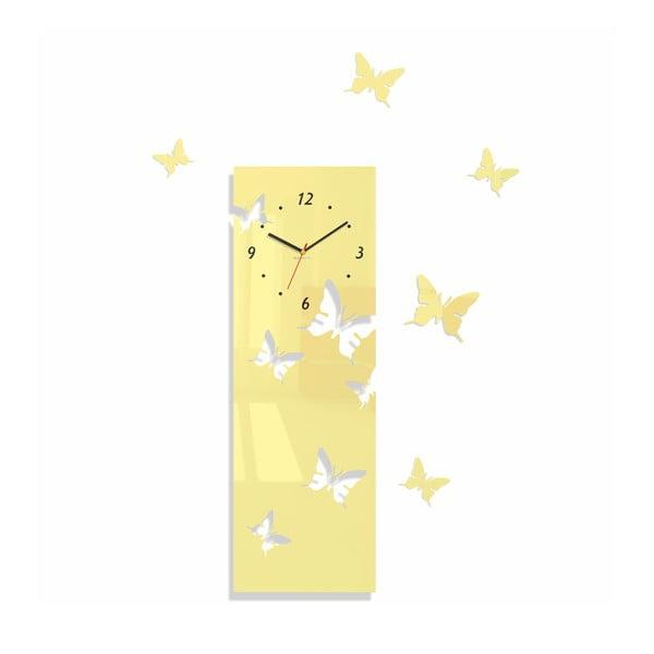 Hodiny z plexiskla Butterflies Away Ecru