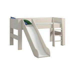 Biela detská poschodová posteľ z borovicového dreva so šmykľavkou Steens For Kids, výška 113 cm