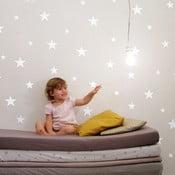 Sada 81 bielych nástenných samolepiek Stars