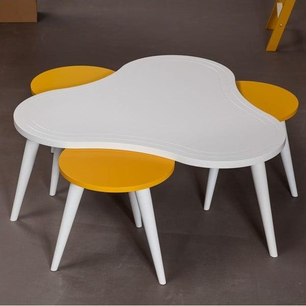 Konferenčný stolík Bubble White se židlemi