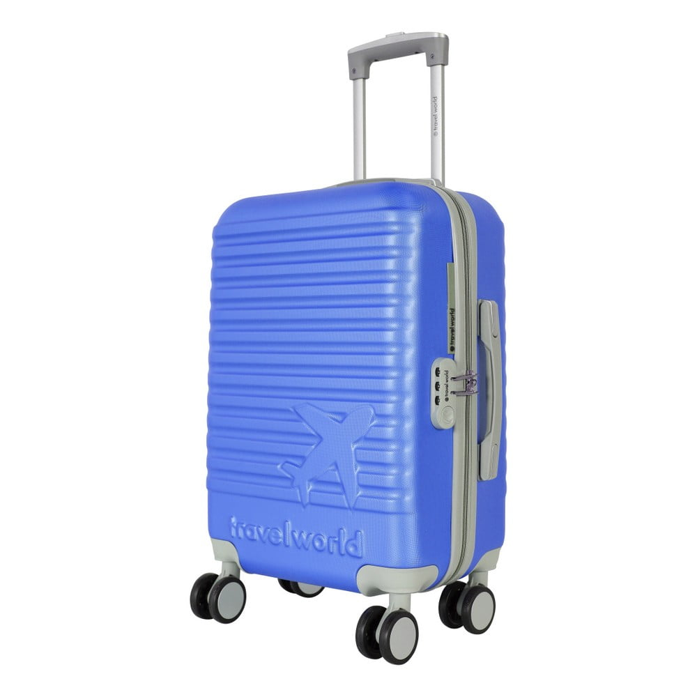 Modrá príručná batožina na kolieskach Travel World Aiport