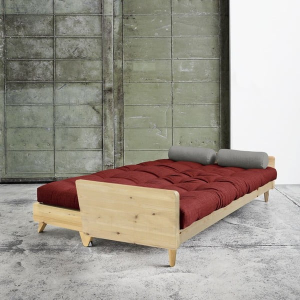 Rozkladacia sofa Indie Natural, Passion Red/Granite Grey