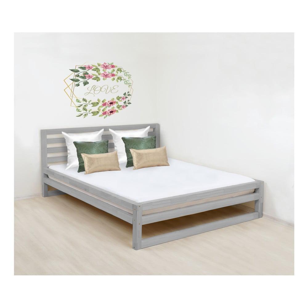 Sivá drevená dvojlôžková posteľ Benlemi DeLuxe, 200 × 200 cm