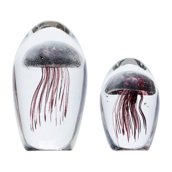 Sada 2 sklenených dekorácií Hübsch Jellyfish
