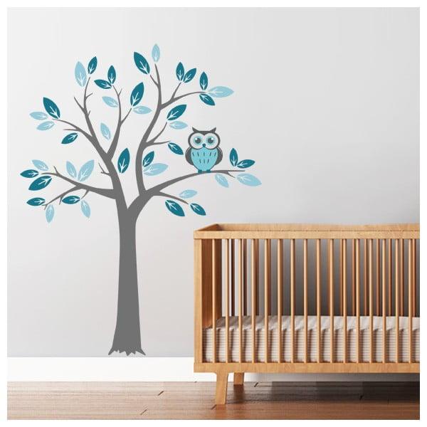Samolepka na stenu Strom a modrá sova, 2 archy, 70x50 cm