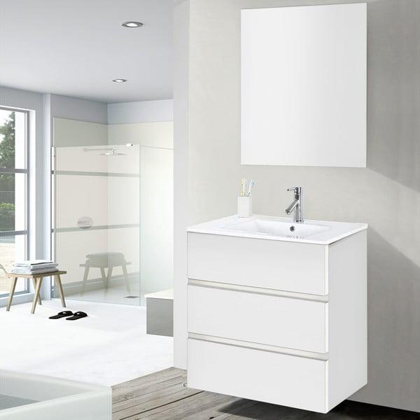 Kúpeľňová skrinka s umývadlom a zrkadlom Nayade, odtieň bielej, 60 cm