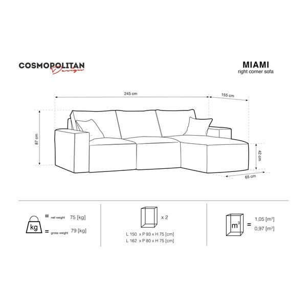 Béžová rohová pohovka Cosmopolitan Design Miami, pravý roh