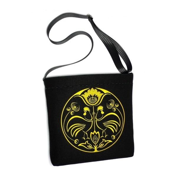 Plstená vyšívaná taška Goshico Folk Kohúti, žltá