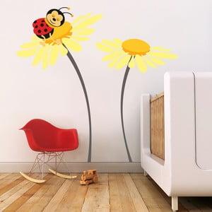Samolepka na stenu Lienka na kvete, žltá, 70x50 cm