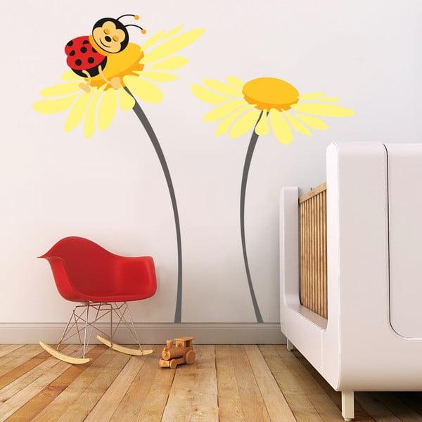 Samolepka na stenu Lienka na kvete, žltá - 2 archy, 70x50 cm