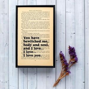Plagát v drevenom ráme Pride and Prejudice Bewitched