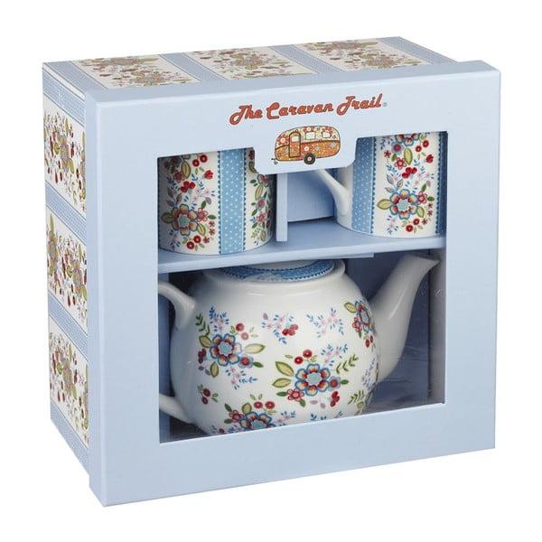 Sada čajovej kanvice a 2 hrnčekov Churchill China Caravan Hippie Floral