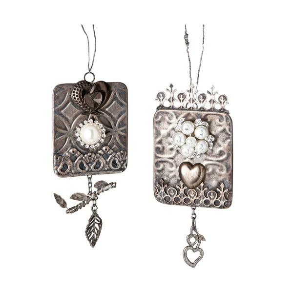 Sada 2 závesných dekorácií Silver