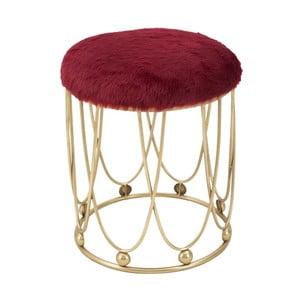 Vínovo-červená polstrovaná stolička s železnou konštrukciou v zlatej farbe Mauro Ferretti Amelia