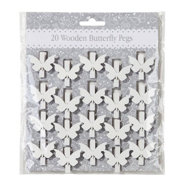 Sada 20 štipcov White Butterfly