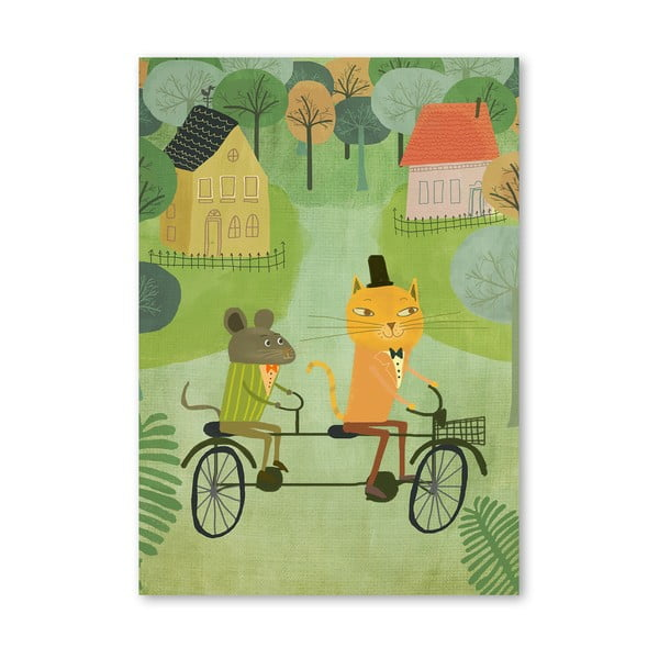 Plagát od Mia Charro - Cat And Bicycle