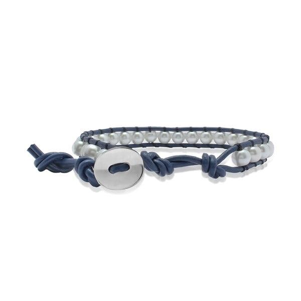 Modrý náramok z pravej kože s perlami Lucie & Jade