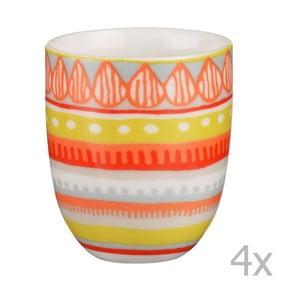 Sada 4 porcelánových šálok na espresso Oilily 80 ml, žltá