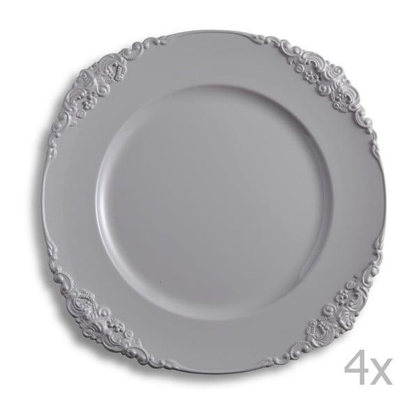 Sada štyroch sivých tanierov Brandani Elegance