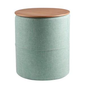 Mentolovozelený odkladací stolík sdoskou vdekore dubového dreva sømcasa Leo