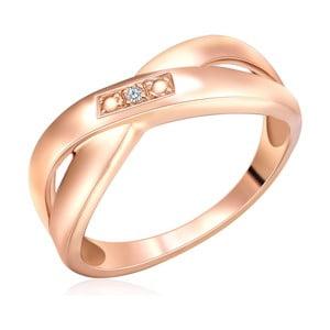 Strieborný prsteň vo farbe ružového zlata s pravým diamantom Tess Diamonds Pax, veľ. 56
