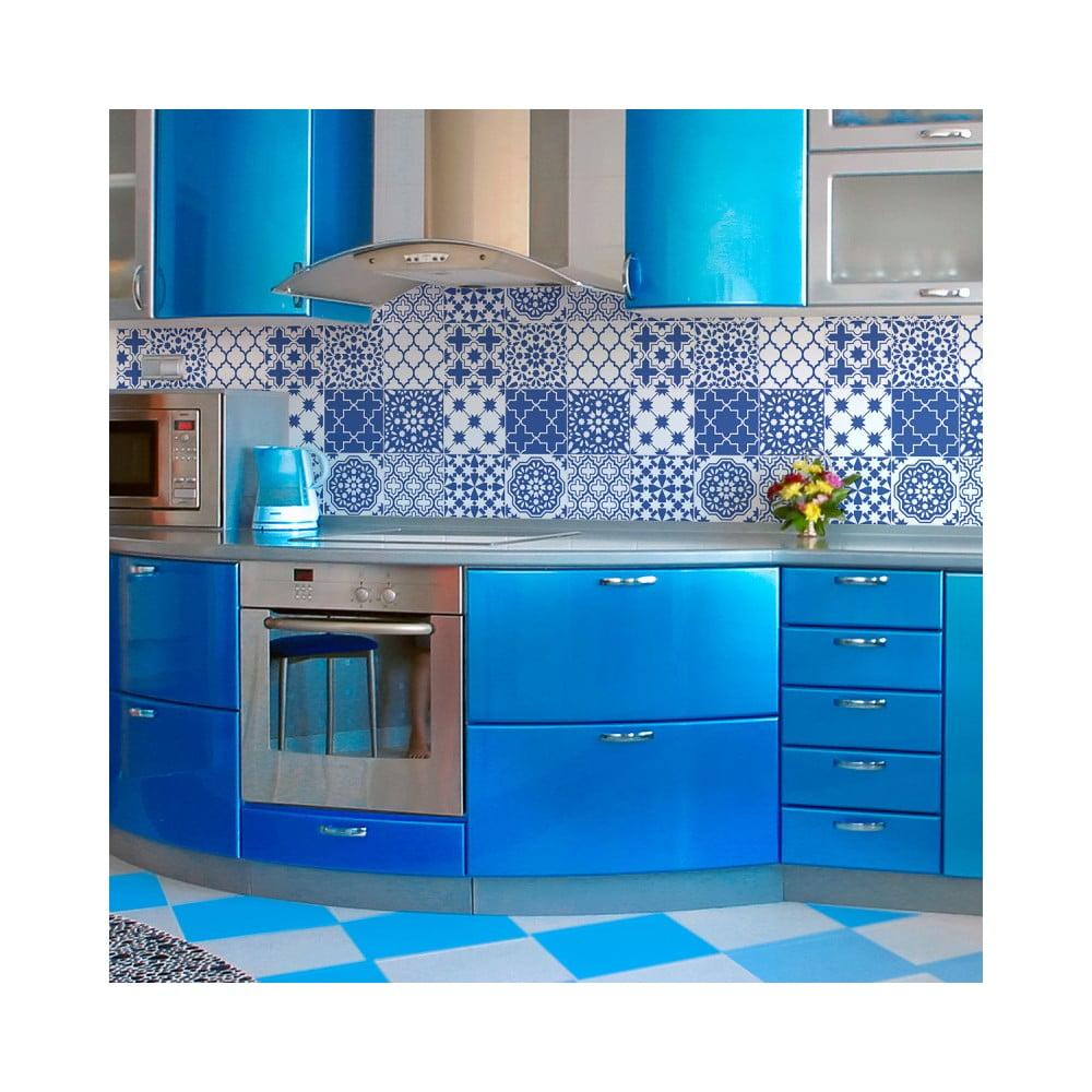 Sada 9 nástenných samolepiek Ambiance Wall Decals Blue Santorini Tiles, 20 × 20 cm