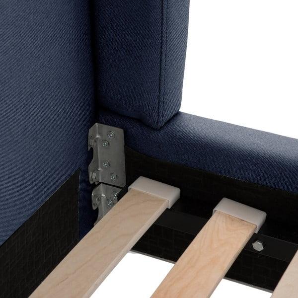 Tmavomodrá posteľ VIVONITA Windsor 180x200cm, čierne nohy