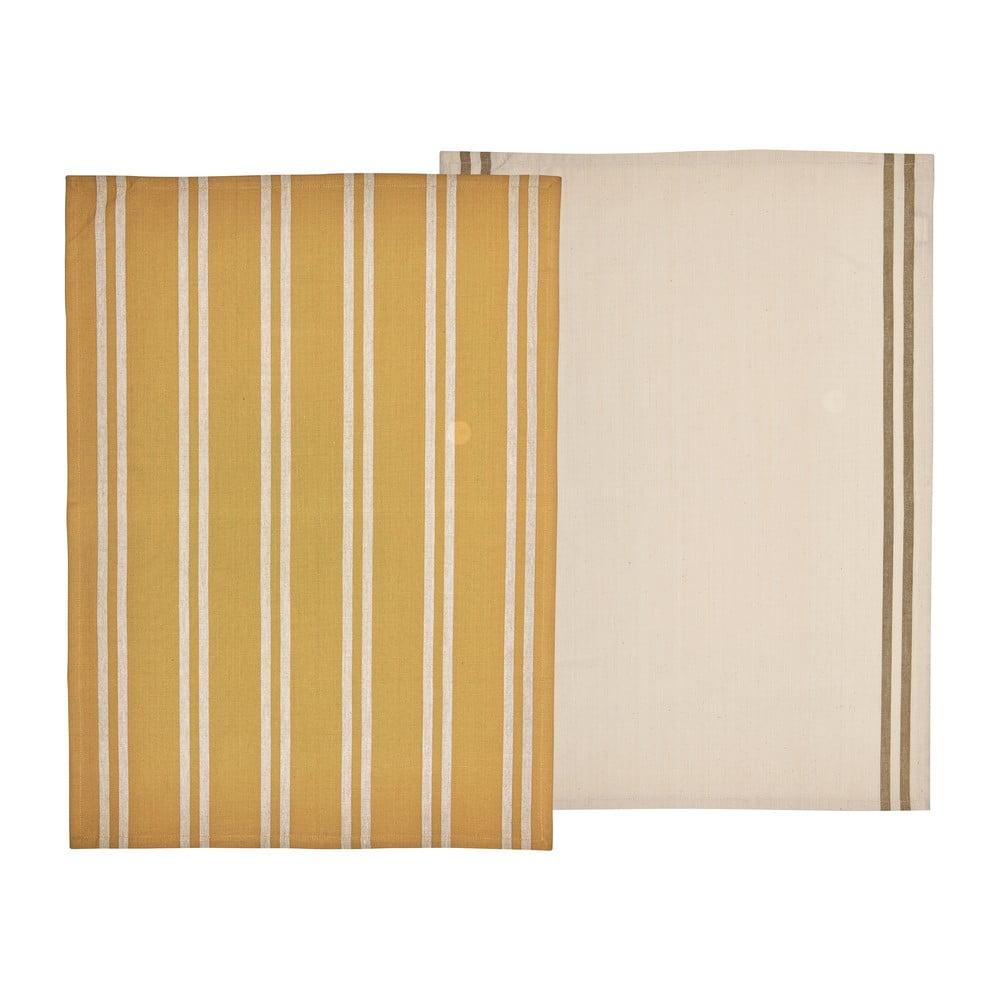Súprava 2 žltých utierok z bavlny Södahl, 50 x 70 cm