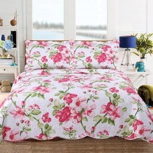 Pléd cez posteľ s motívom kvetov s dvomi obliečkami na vankúš Sleeptime Emma, 260 x 250 cm