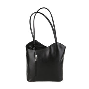 Čierna kožená kabelka Chicca Borse Muliya