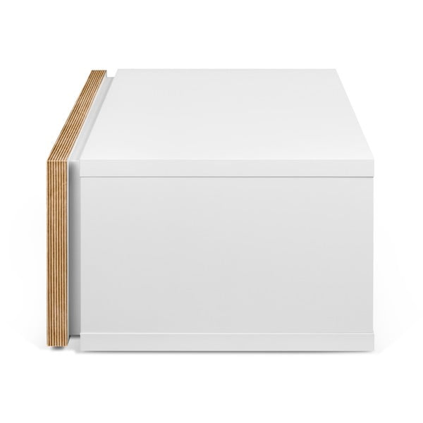 Biely nočný stolík s hnedými hranami TemaHome Float