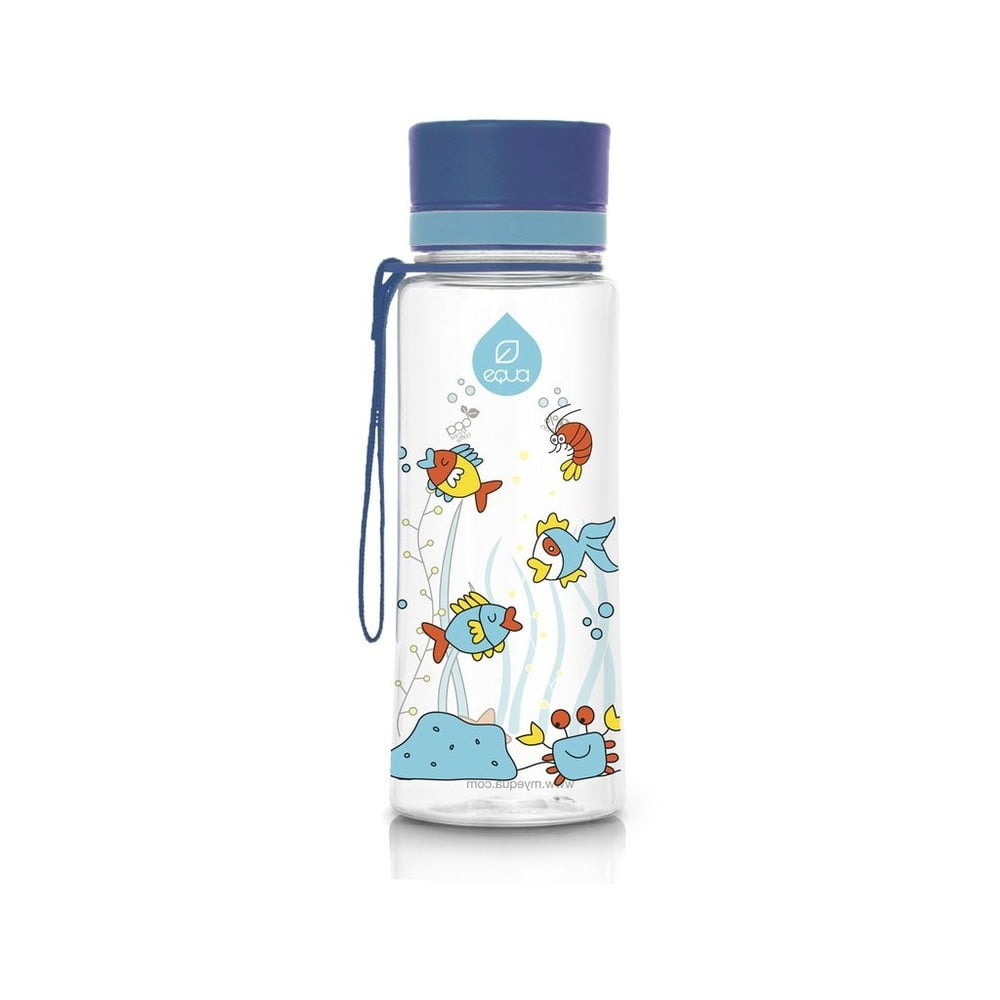 Modrá plastová fľaša Equa Equarium, 0,6 l