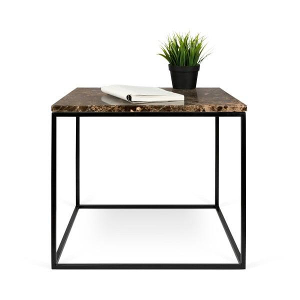 Hnedý mramorový konferenčný stolík s čiernymi nohami TemaHome Gleam, 50cm